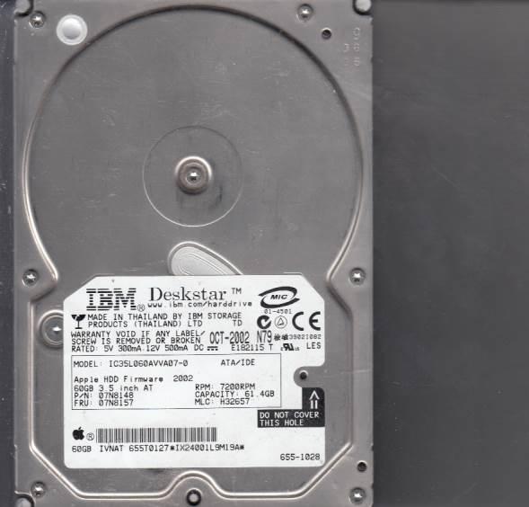 Hitachi IC35L060AVVA07-0 61GB 07N8148 IX24001L9M19A