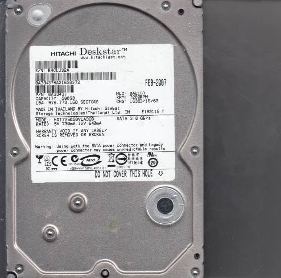 Hitachi HDT725050VLA360 500GB
