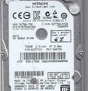 Hitachi HTS727575A9E362 750GB