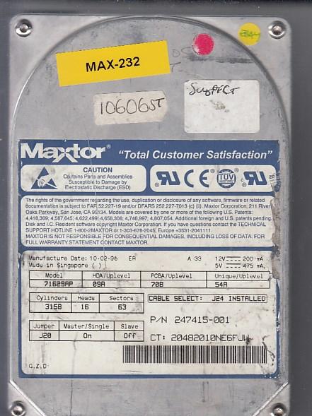 Maxtor Part # 247414-001,