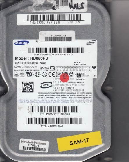 Samsung HD080HJ 80GB