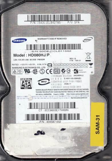 Samsung HD080HJ/P 80GB