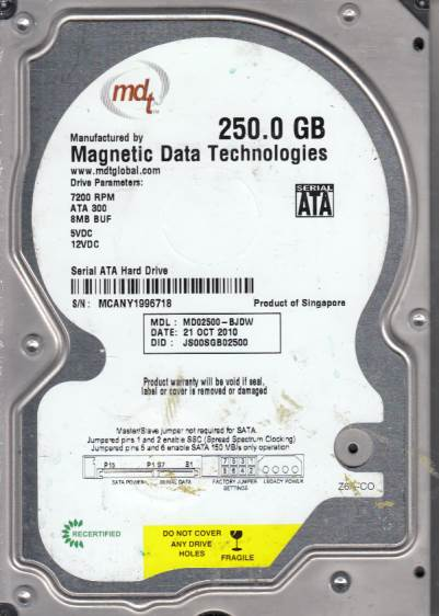 Western Digital MD02500-BJDW 250GB