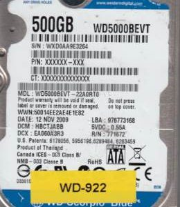 Western Digital WD5000BEVT-22A0RT0 500GB