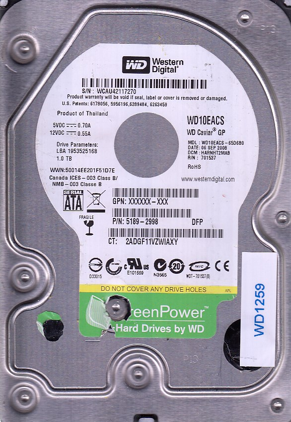 Western Digital 2ADGF11VZWIAXY 1TB