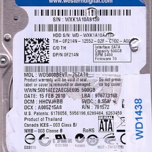Western Digital WD5000BEVT-75ZAT0 500GB