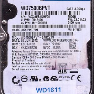 Western Digital WD7500BPVT-24HXZT3 750GB