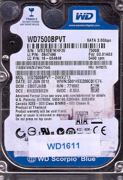 Western Digital WD7500BPVT-24HXZT3 750GB