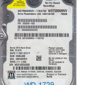 Western Digital WD7500KMVV-11BG7S0 750GB