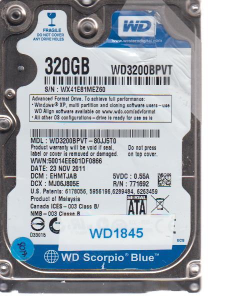 Western Digital WD3200BPVT-80JJ5T0 320GB