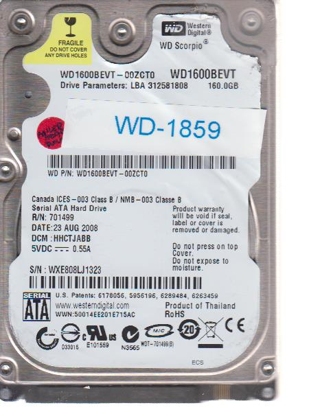 Western Digital WD1600BEVT-00ZCT0 160GB