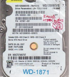 Western Digital WXC707480797 120GB