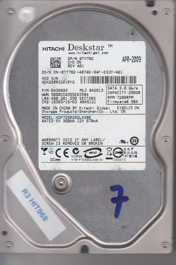 Hitachi HDP725025GLA380 250GB