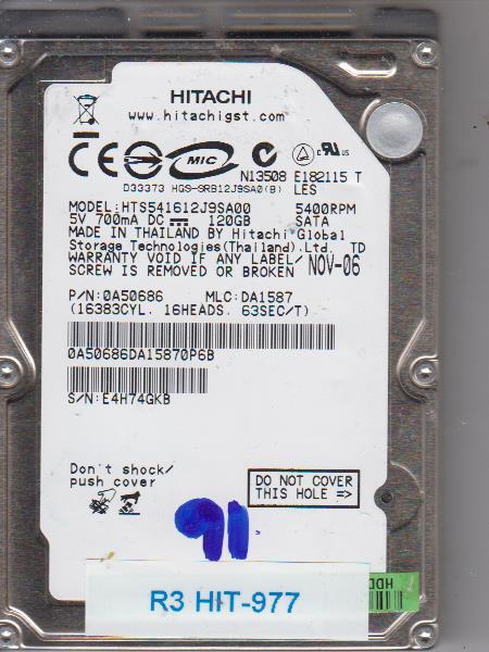 Hitachi HTS541612J9SA00 120GB
