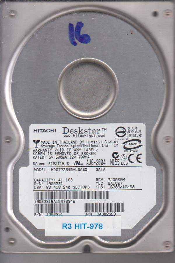 Hitachi HDS722540VLSA80 41.1GB