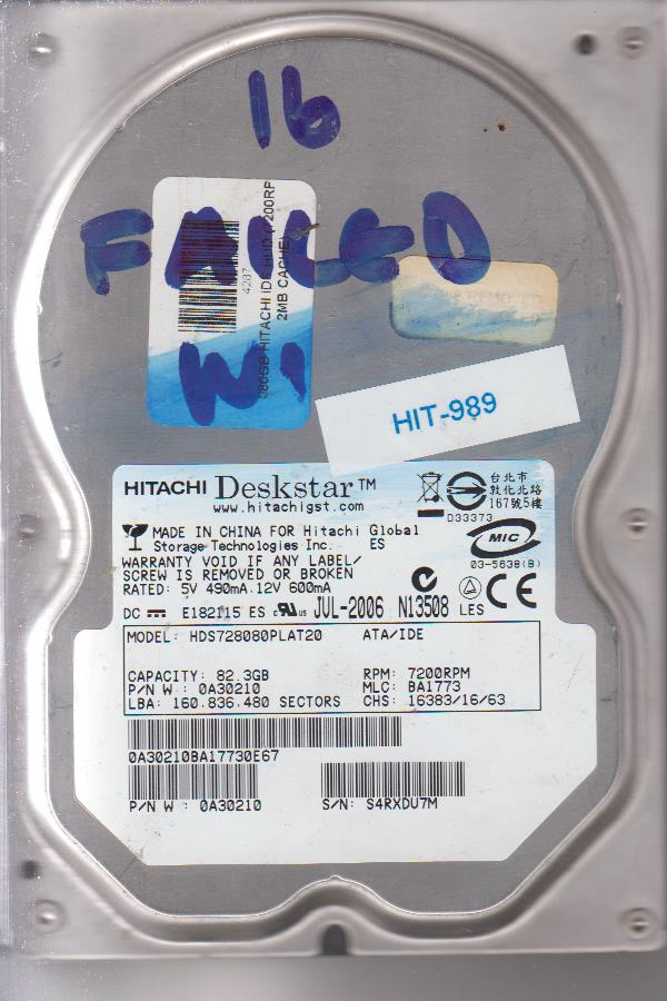 Hitachi HDS728080PLAT20 82GB
