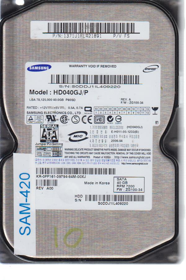 Samsung HD040GJ 40 GB