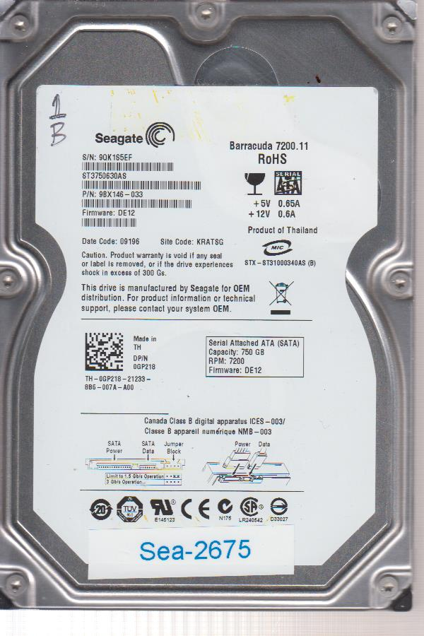 Seagate ST3750630AS 750GB 9BX146-033 9QK1S5EF