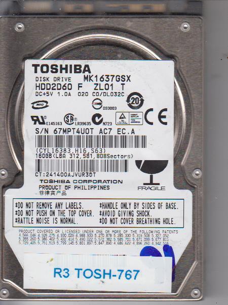 Toshiba MK1637GSX 160GB