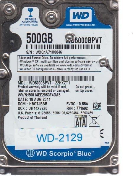 Western Digital WD5000BPVT-22HXZT1 500GB