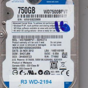 Western Digital WD7500BPVT-55HXZT4 750GB