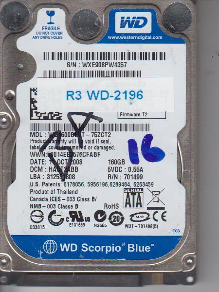 Western Digital WD1600BEVT-75ZCT2 160GB