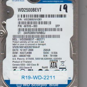 Western Digital WD2500BEVT-60ZCT1 250GB