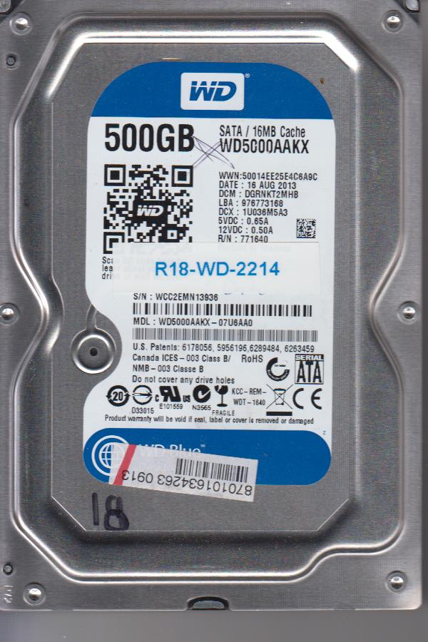 Western Digital WD5000AAKX-07U6AA0 500GB